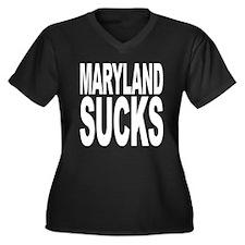 Maryland Sucks Women's Plus Size V-Neck Dark T-Shi