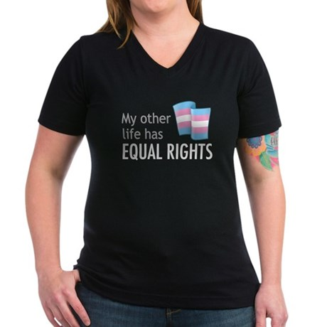 My Other Life Trans Women's V-Neck Dark T-Shirt