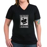 CHESS - RATED KING Women's V-Neck Dark T-Shirt