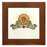 Tibetan Snow Lion Framed Tile