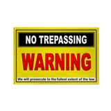 NO TREPASSING Rectangle Magnet (100 pack)