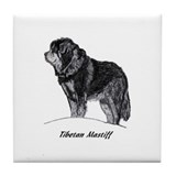 Cute Tibetan mastiff Tile Coaster