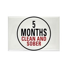 5 Months Clean & Sober Rectangle Magnet (100 pack)