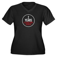 2 Years Clean & Sober Women's Plus Size V-Neck Dar