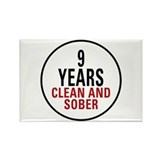 9 Years Clean & Sober Rectangle Magnet