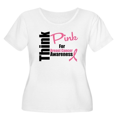 Think Pink Women's Plus Size Scoop Neck T-Shirt