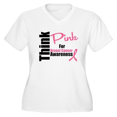 Think Pink Women's Plus Size V-Neck T-Shirt