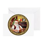Santa's American Eskimo #5 Greeting Cards (Pk of 1