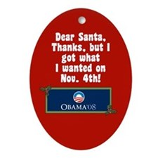 Santa for Barack Obama Christmas Ornament