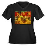 Night Cafe Women's Plus Size V-Neck Dark T-Shirt