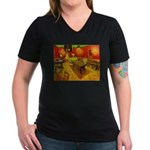 Night Cafe Women's V-Neck Dark T-Shirt