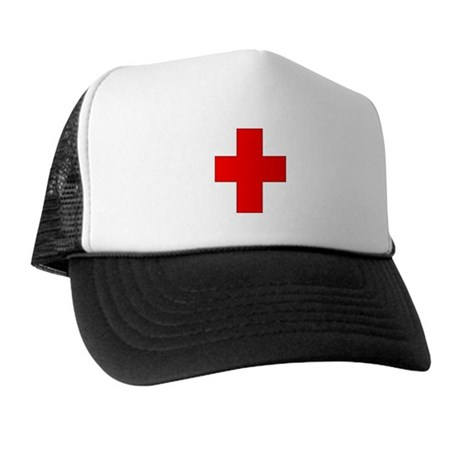 Blank Red Cross 1 Trucker Hat