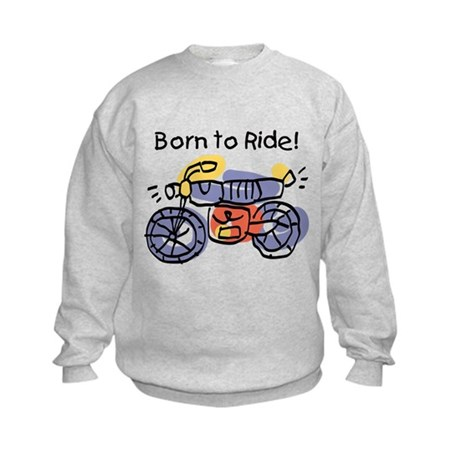 Child Art Born To Ride Kids Sweatshirt