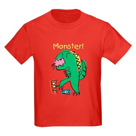 T-Rex Monster Child Art Kids Dark T-Shirt