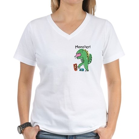 T-Rex Monster Child Art Women's V-Neck T-Shirt