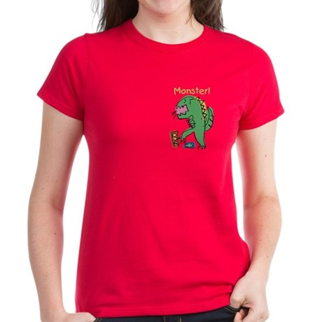 T-Rex Monster Child Art Women's Dark T-Shirt