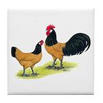 Gold Lakenvelder Chickens Tile Coaster