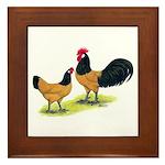 Gold Lakenvelder Chickens Framed Tile