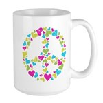Love in Peace. Bunch of heart Large Mug