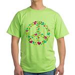 Love in Peace. Bunch of heart Green T-Shirt