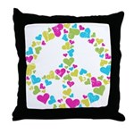 Love in Peace. Bunch of heart Throw Pillow