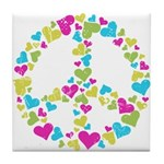 Love in Peace. Bunch of heart Tile Coaster