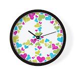 Love in Peace. Bunch of heart Wall Clock