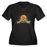 Tibetan Snow Lion Women's Plus Size V-Neck Dark T-