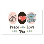 Peace Love Tea Rectangle Sticker 10 pk)