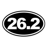 26.2 Full Marathon Oval Euro Sticker Black
