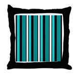 Turquoise Ribbon Stripes Throw Pillow
