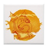 Funny Golden dragons Tile Coaster
