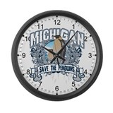 Save the Penguins Michigan Large Wall Clock