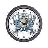 Save the Penguins Michigan Wall Clock