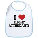 I Love Flight Attendants Bib