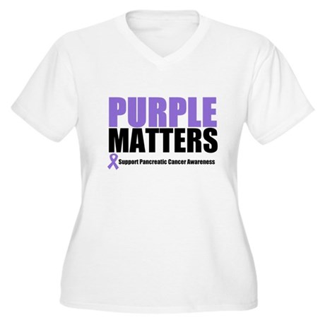 Pancreatic Cancer Women's Plus Size V-Neck T-Shirt