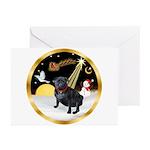 Night Flight/Pug (black) Greeting Cards (Pk of 10)