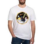 Night Flight/Pug (black) Fitted T-Shirt