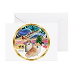 XmasMagic/2 Pomeranians Greeting Cards (Pk of 10)