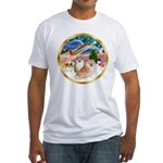 XmasMagic/2 Pomeranians Fitted T-Shirt