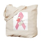 Breast Cancer Ribbon &amp; Bunny Tote Bag