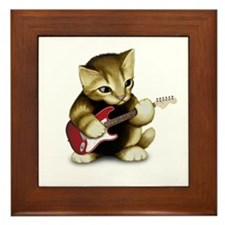 Cat Playing Guitar Framed Tile