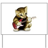 Cat Playing Guitar Yard Sign
