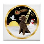 Night Flight/Poodle Std(choc) Tile Coaster