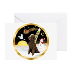 Night Flight/Poodle Std(choc) Greeting Cards (Pk o