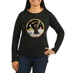 Night Flight/Poodle Std(choc) Women's Long Sleeve