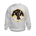 Night Flight/Poodle Std(choc) Kids Sweatshirt