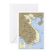 Vietnam Asia Map Greeting Cards (Pk of 20)