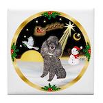 Night Flight/Silver Poodle Tile Coaster