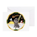 Night Flight/Silver Poodle Greeting Cards (Pk of 2